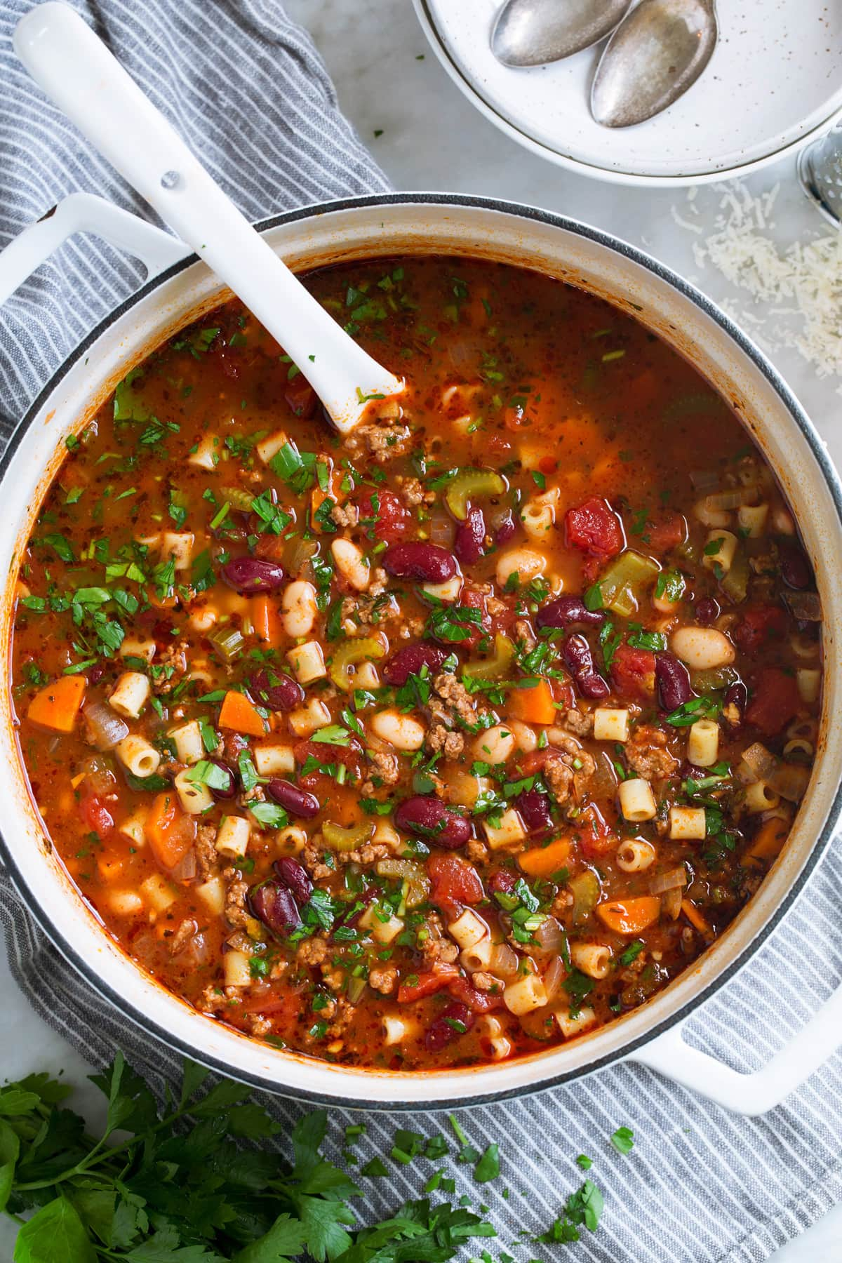 Overhead image of pasta fagioli soup in a pot.