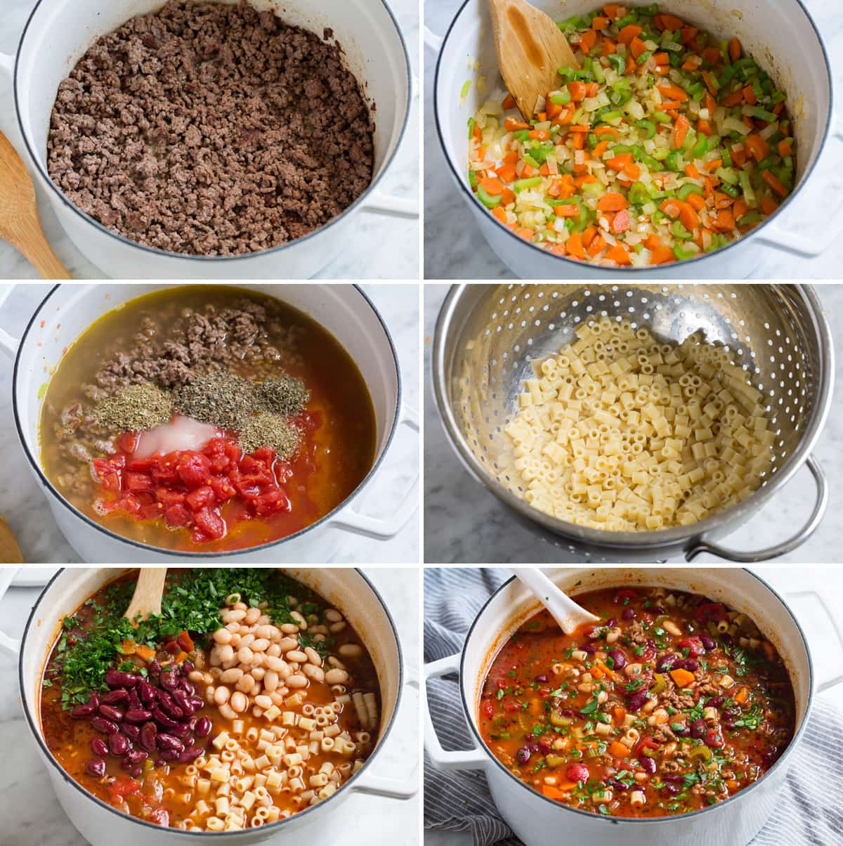 Image showing steps of how to cook pasta fagioli in a pot.