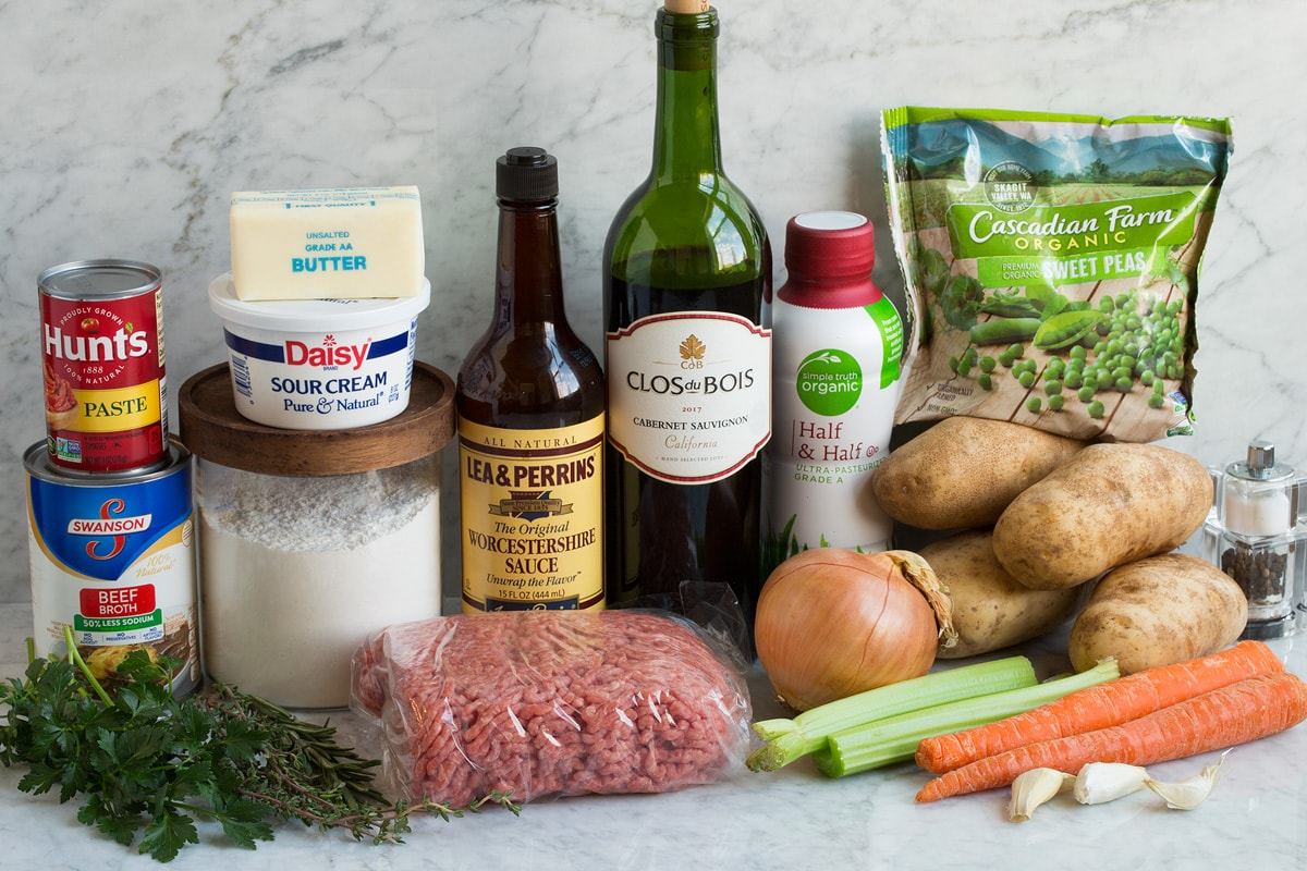 Image showing ingredients that go into shepherd's pie.