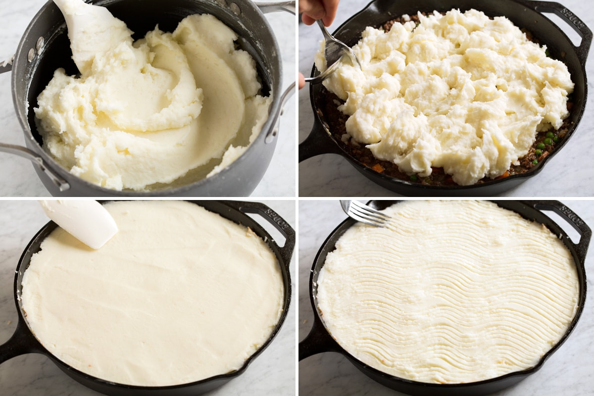 Showing how to spread mashed potatoes over and decorate shepherd's pie topping with a fork.