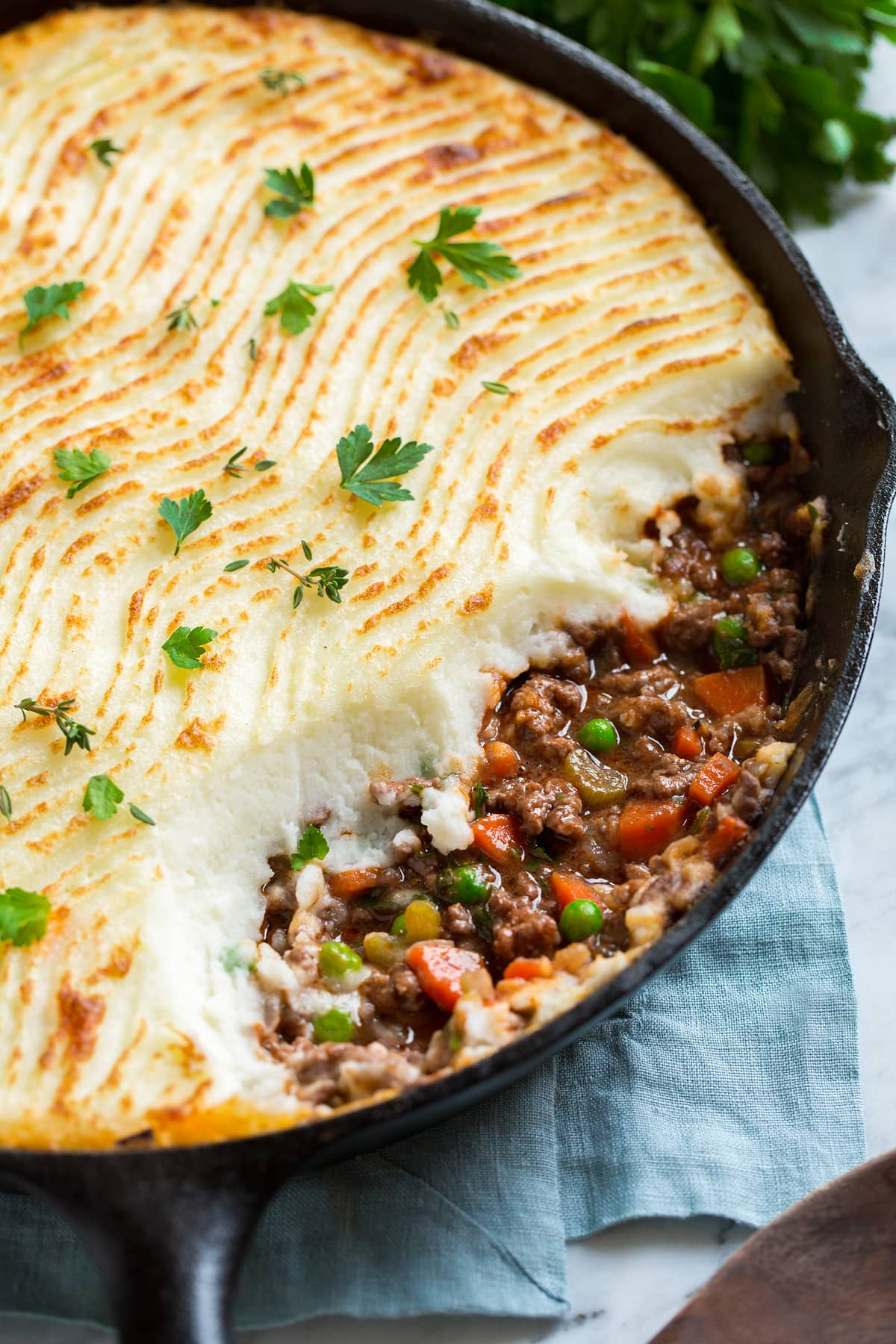 Close up image of Shepard's Pie in a cast iron skillet.