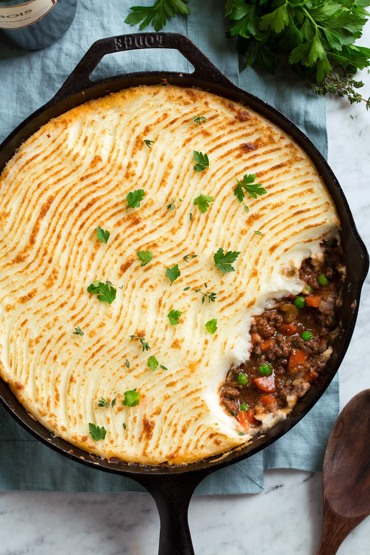 Overhead image of shepherd's pie in a cast iron skillet.
