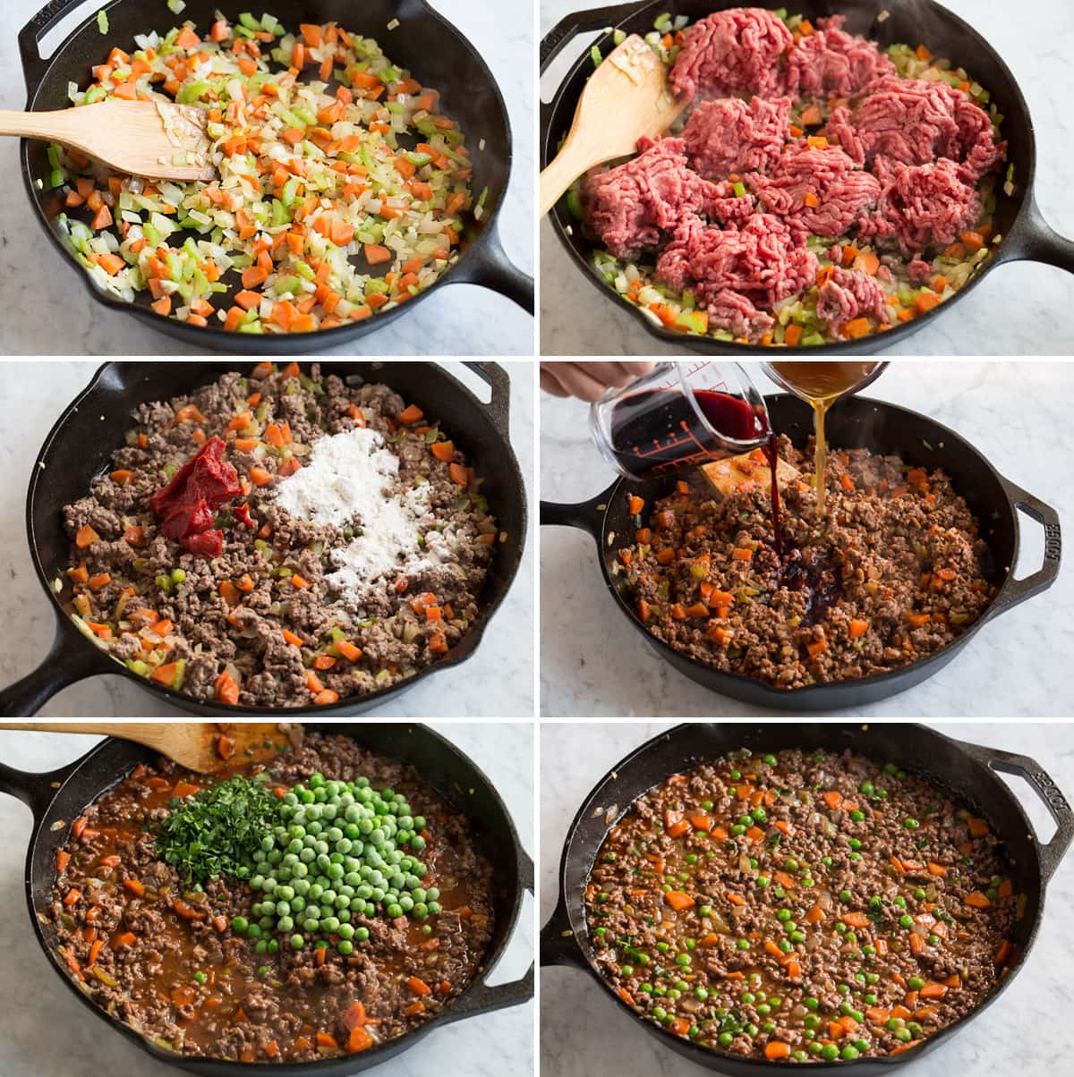 Image showing steps of making ground beef filling for shepherd's pie.