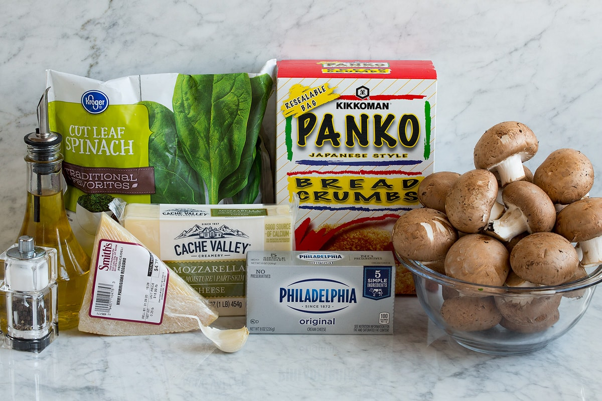Ingredients that go into stuffed mushrooms shown here.