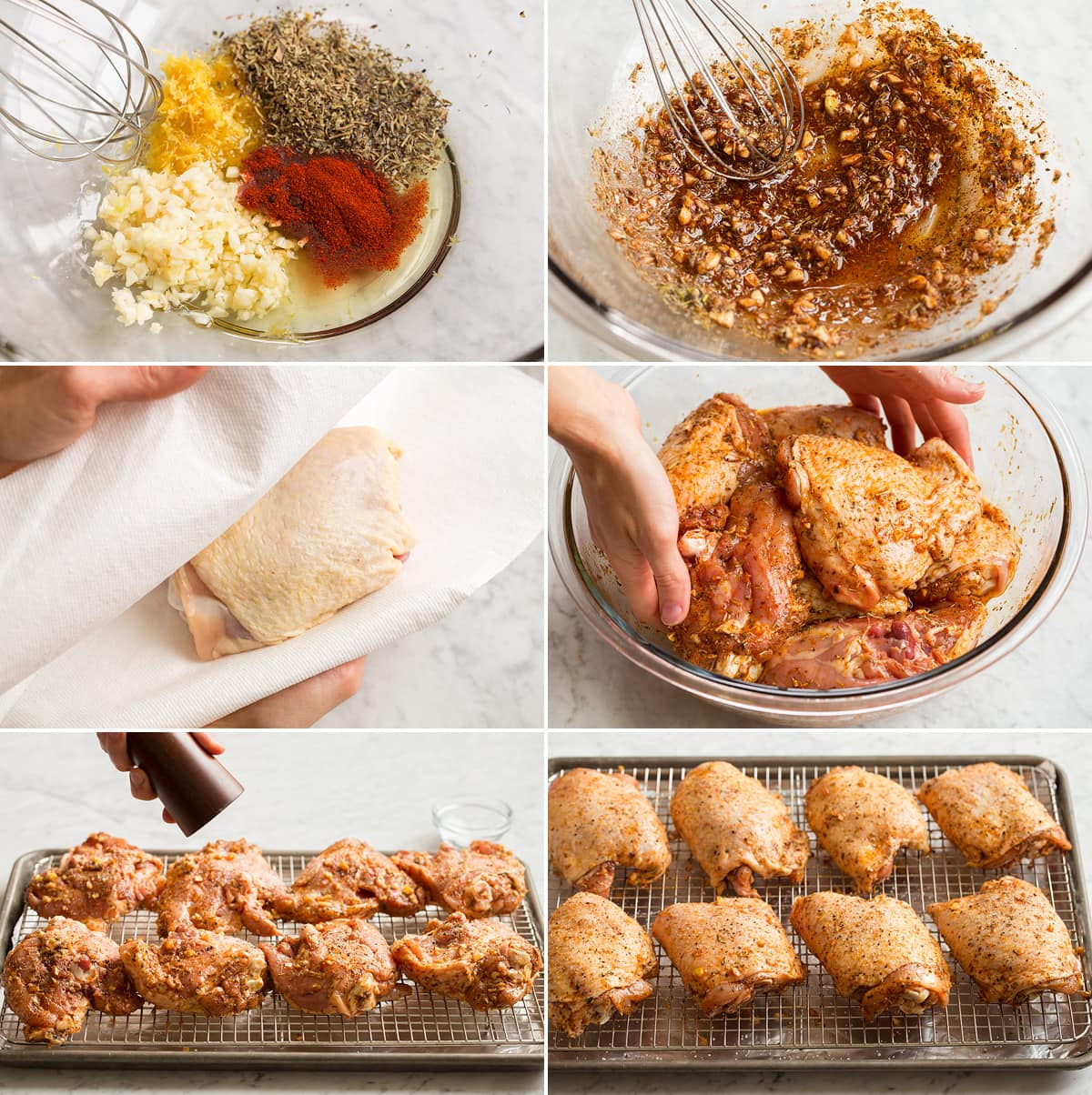 Collage of six images showing how to prepare chicken thighs for baking. Shows making a seasoning mixture, drying chicken, tossing with mixture and setting on rack in baking sheet.