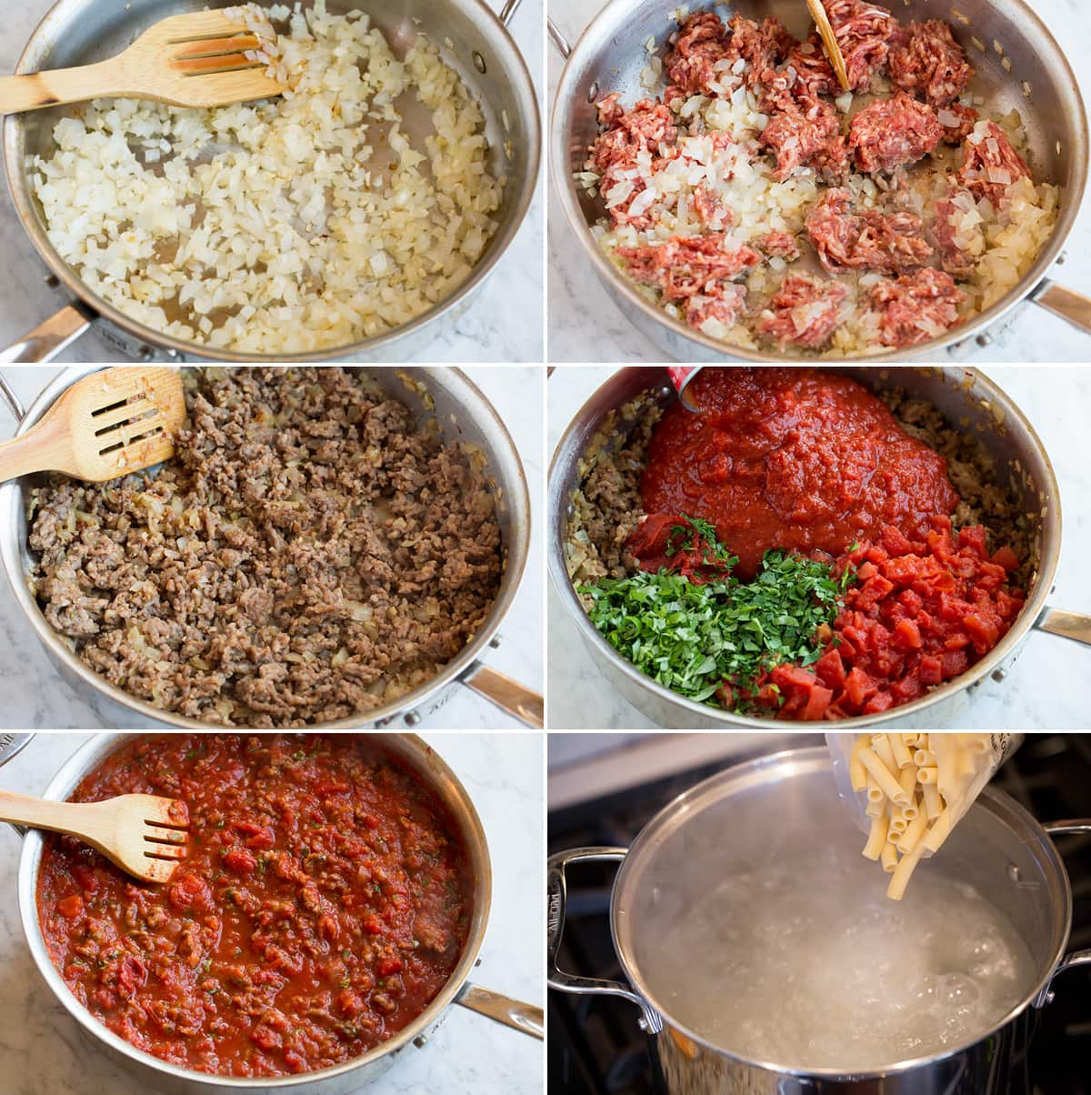 Image of steps showing how to make sauce for baked ziti.