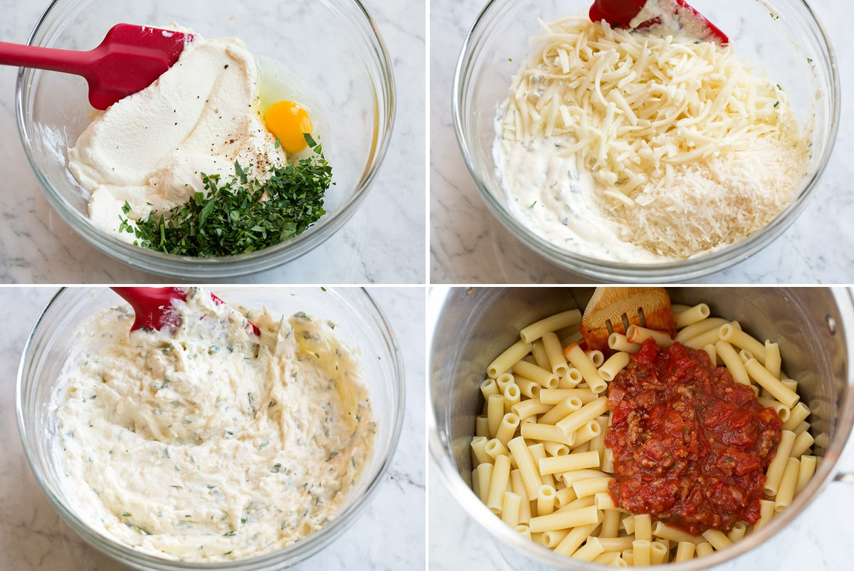 Steps showing how to make cheese filling for baked ziti and tossing pasta with sauce in pan.