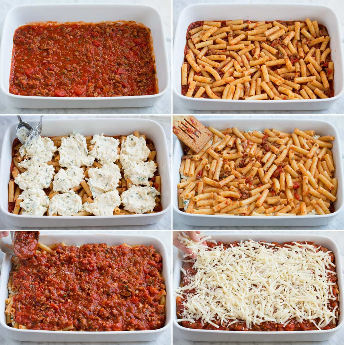 Image showing steps how to assemble baked ziti.
