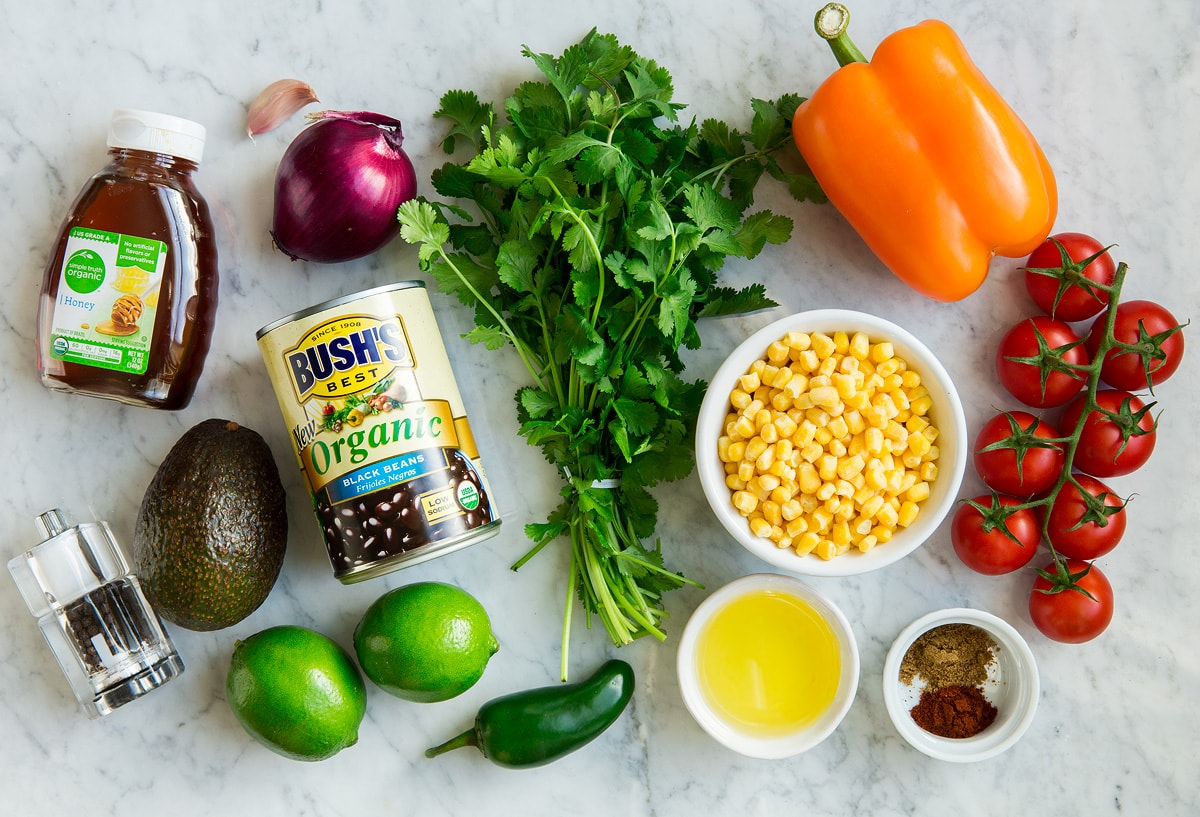 Ingredients shown here that go into black bean and corn salad.