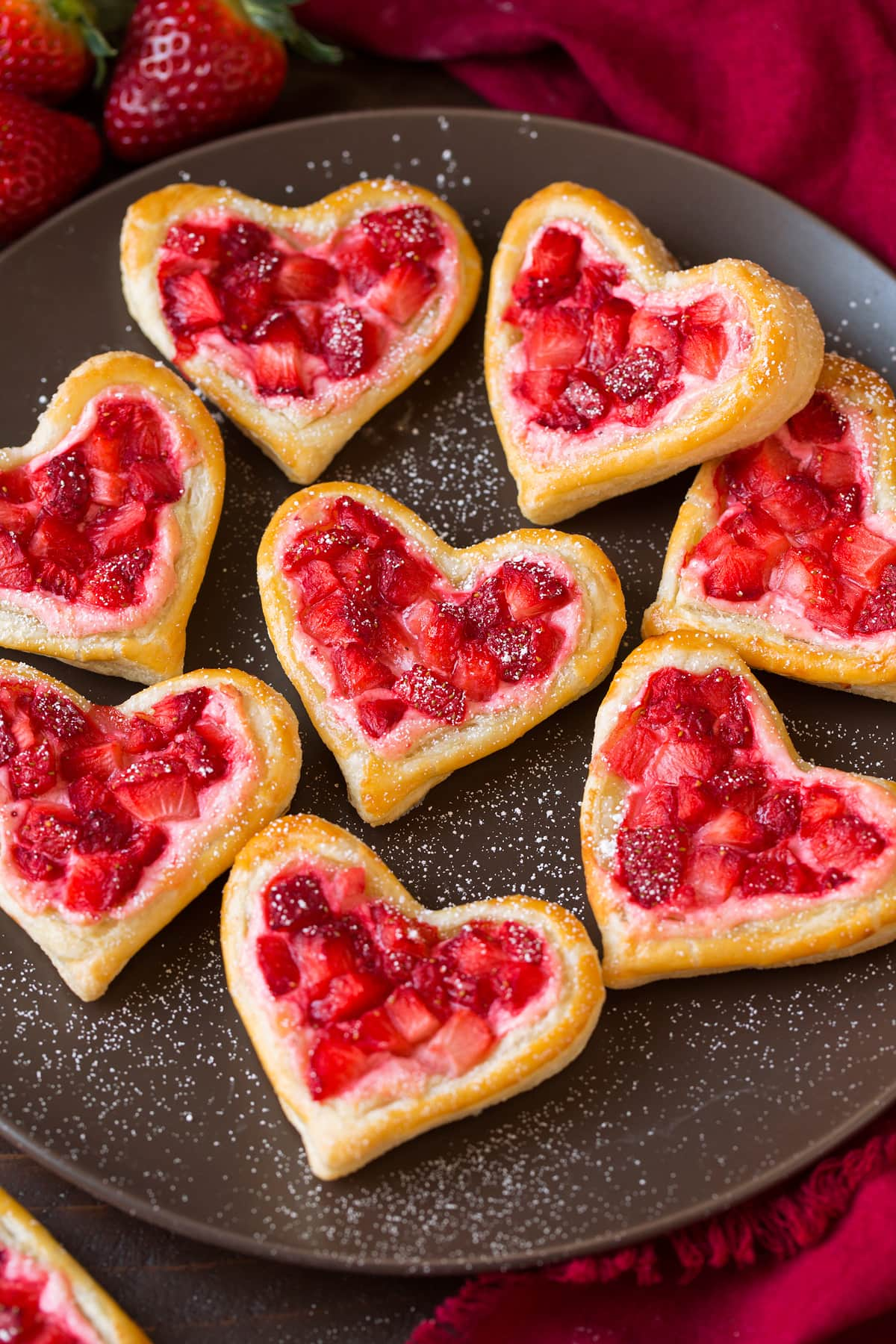 Easy breakfast pastries cut into heart shapes