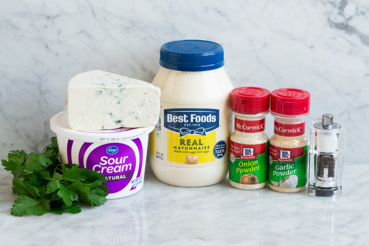 Ingredients shown here that go into blue cheese dip for buffalo wings.