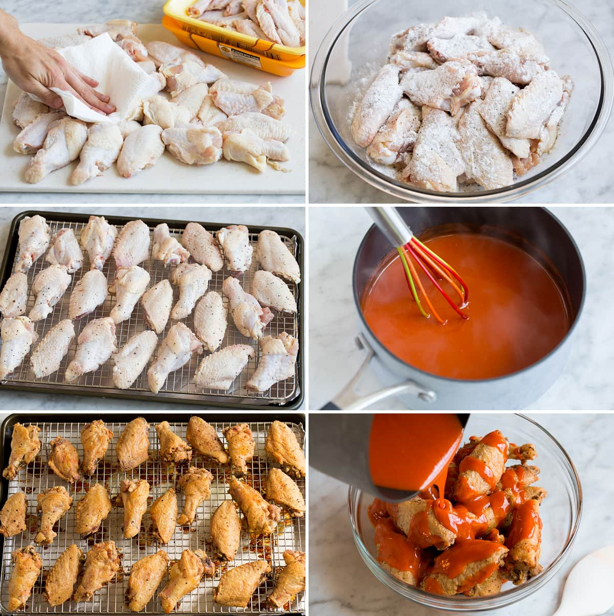 Image showing all the steps to making buffalo wings and sauce.