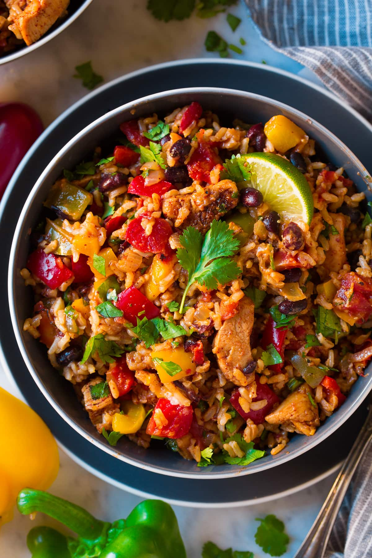 Overhead image of easy chicken black bean bell pepper rice bowl.