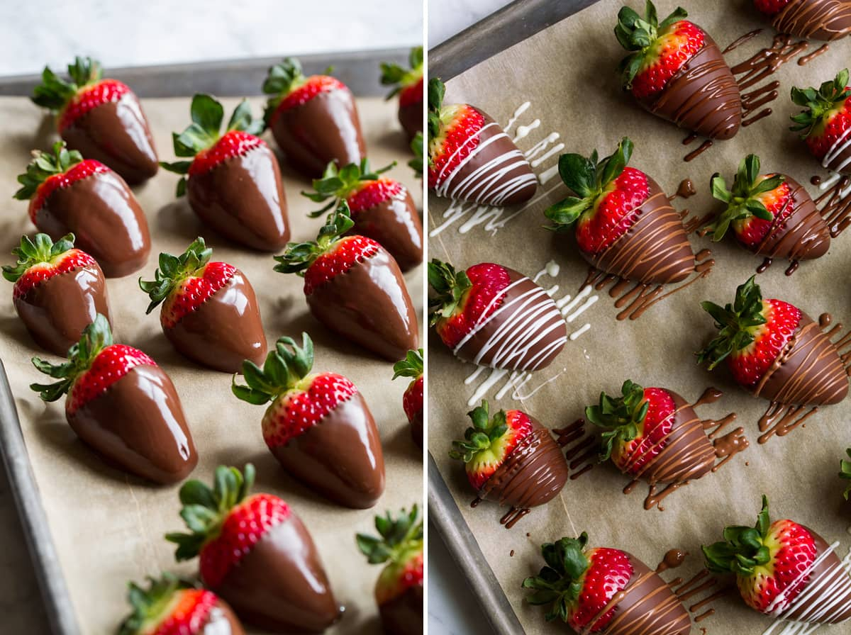 Chocolate covered strawberries shown with after dipping in melted chocolate on the left then shown on the right after drizzling with melted chocolate.