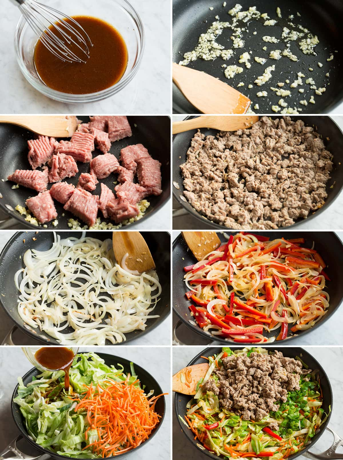 8 steps showing how to make egg roll in a bowl sauce and mixture in a skillet.