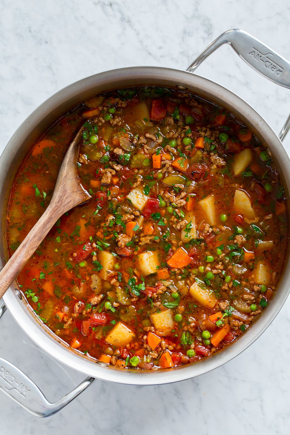 Overhead image of easy hamburger soup in a large pot.