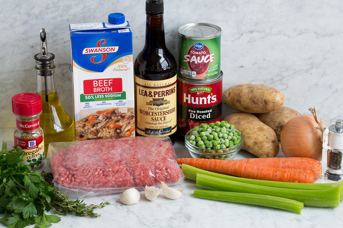 Ingredients that go into hamburger soup shown here.