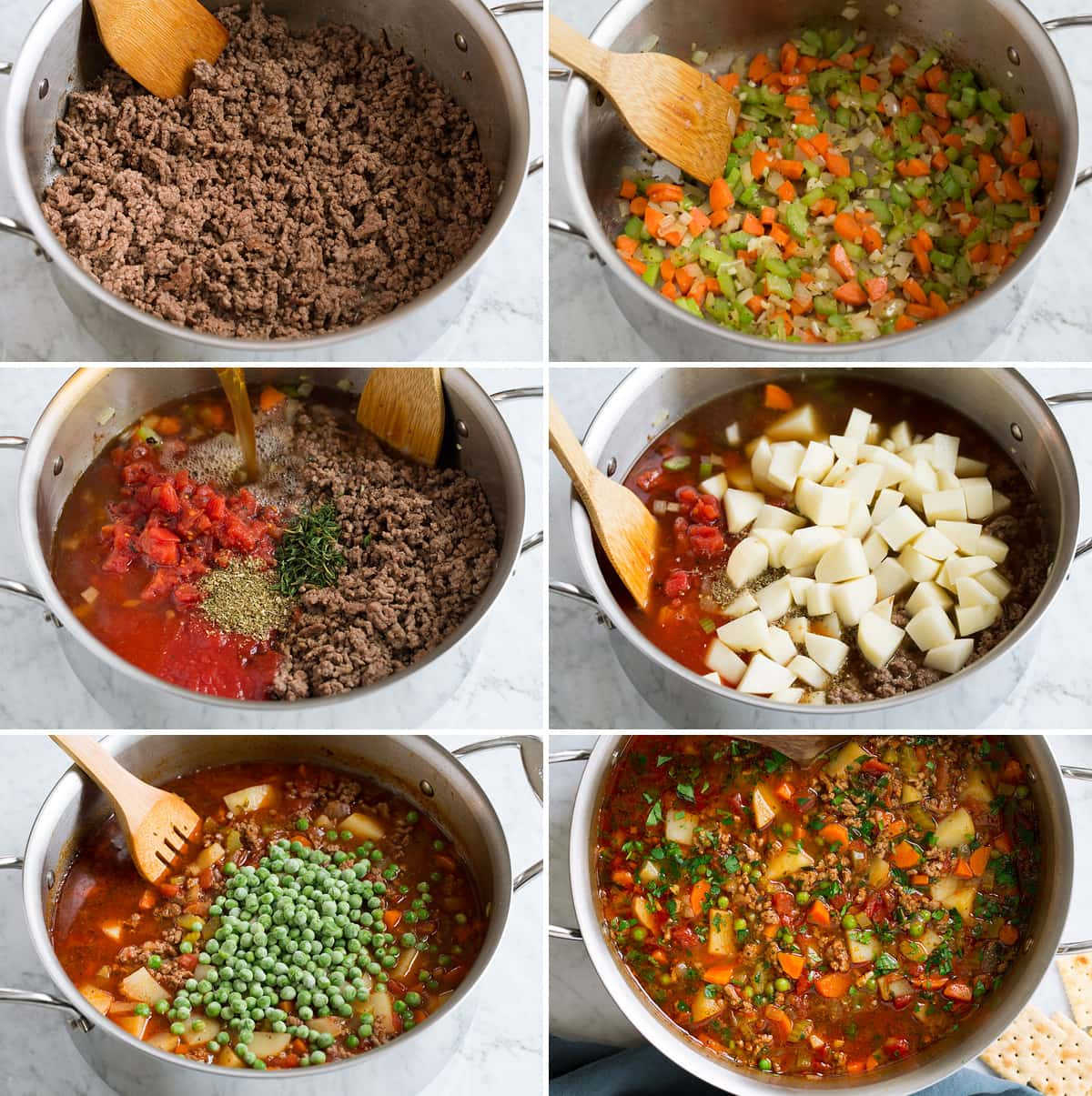 Steps showing how to make hamburger soup.