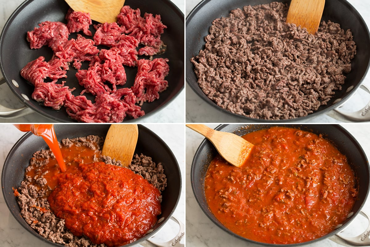Steps showing how to make the beefy lasagna sauce in a skillet.