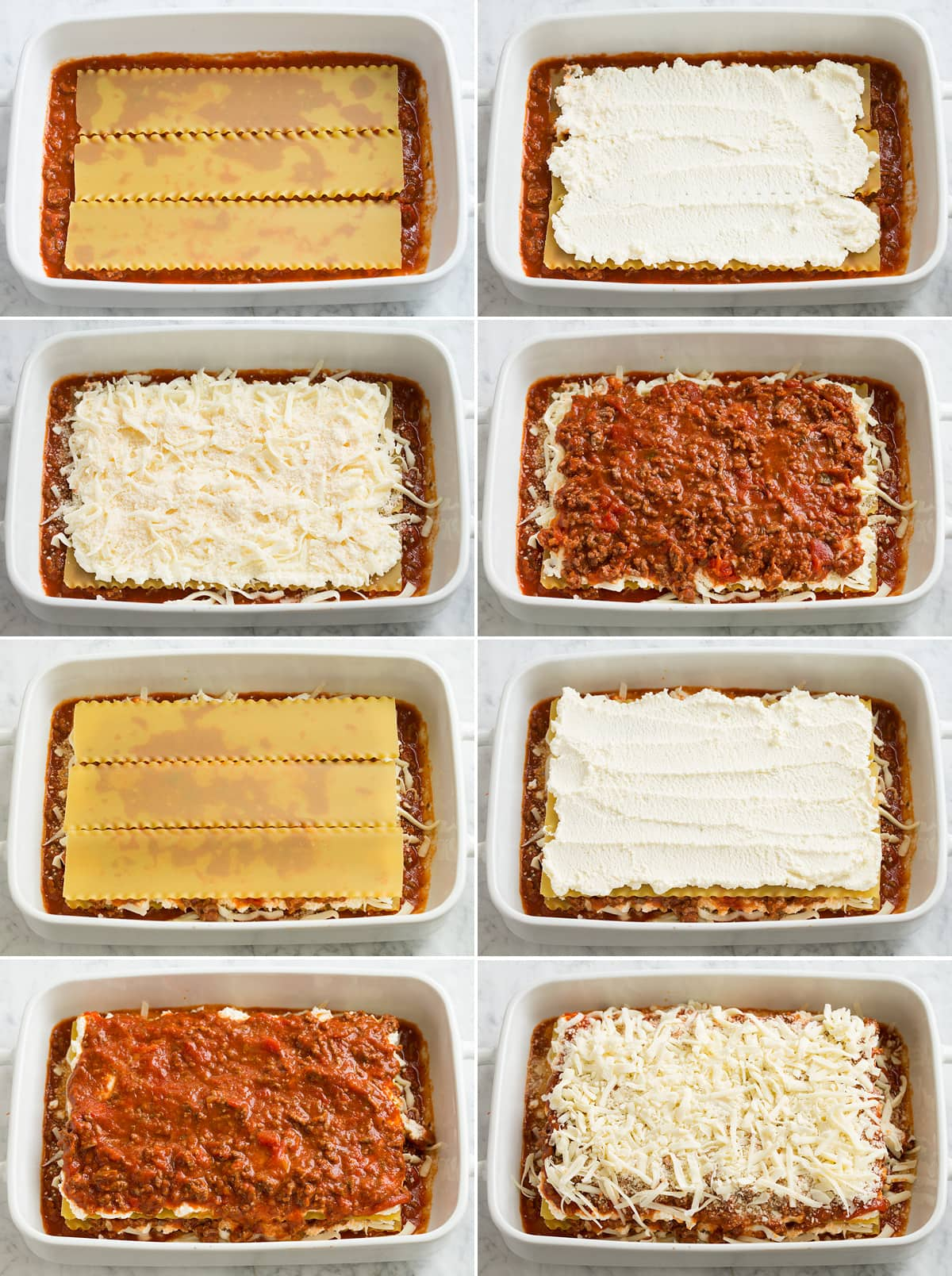 Image showing eight steps of layering easy lasagna. Includes layering lasagna noodles, cheeses, sauce and repeating.