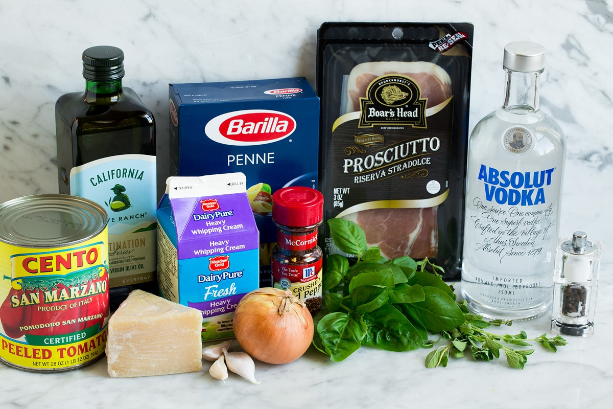 Ingredients shown that go into penne with vodka sauce.