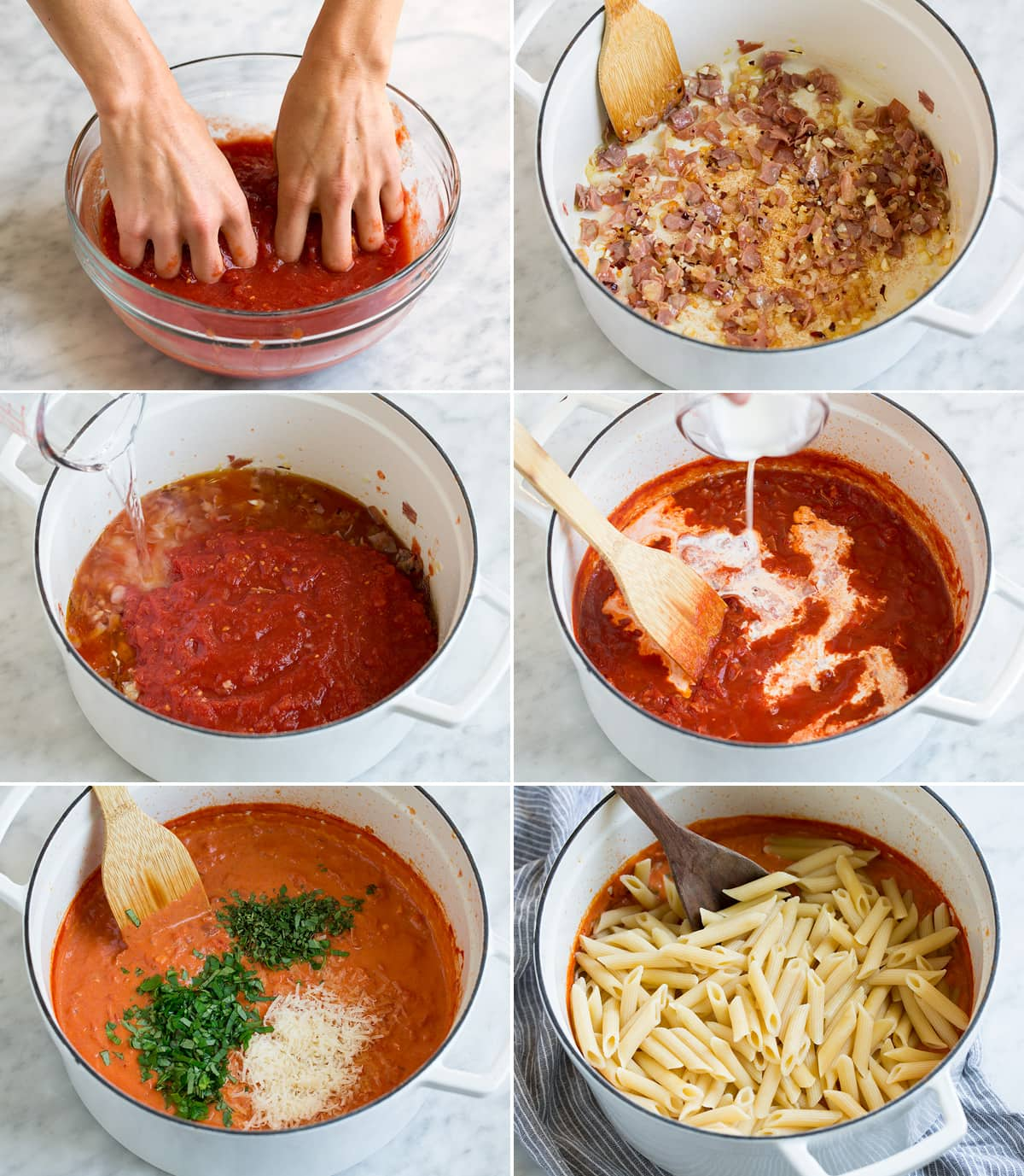 Steps showing how to make vodka sauce and tossing with penne pasta at the end.