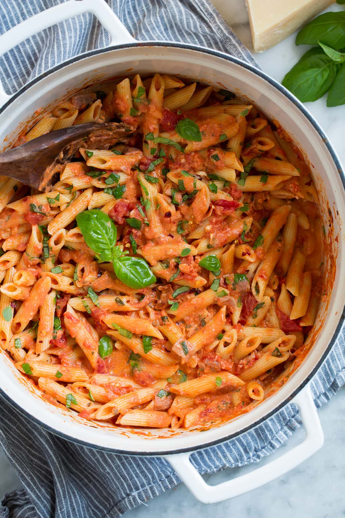 Overhead image of penne alla vodka in a large pot.