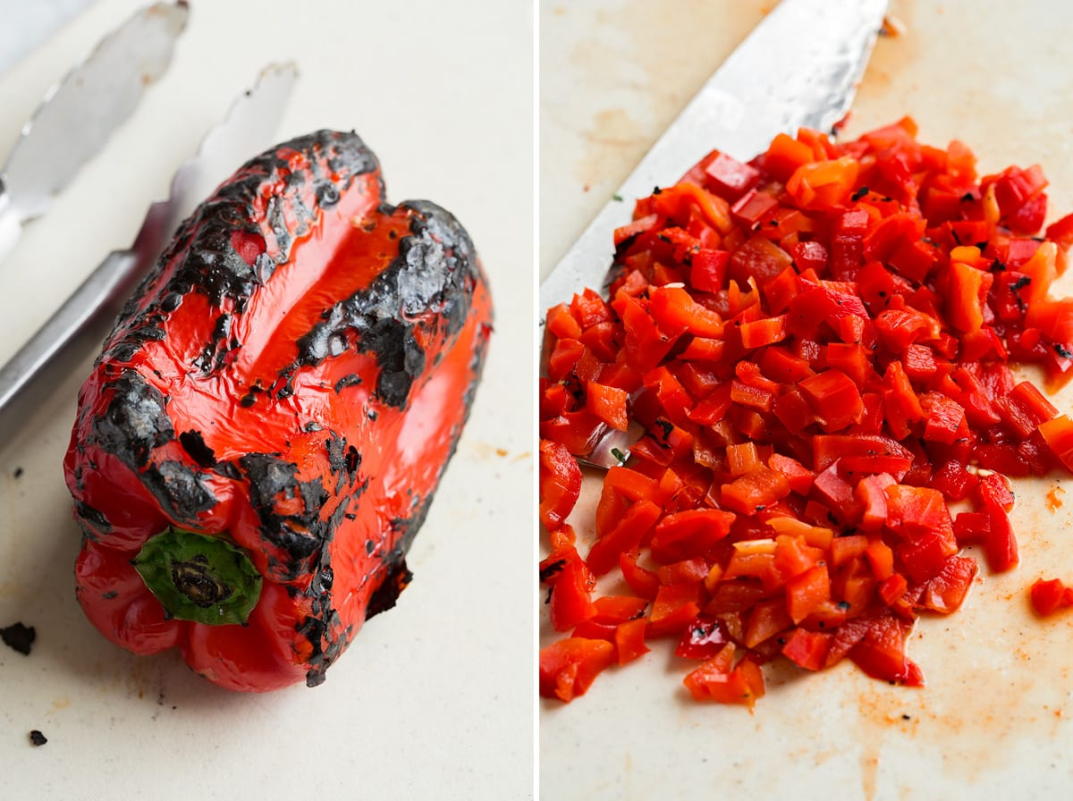 Roasted bell pepper shown whole and peeled and diced
