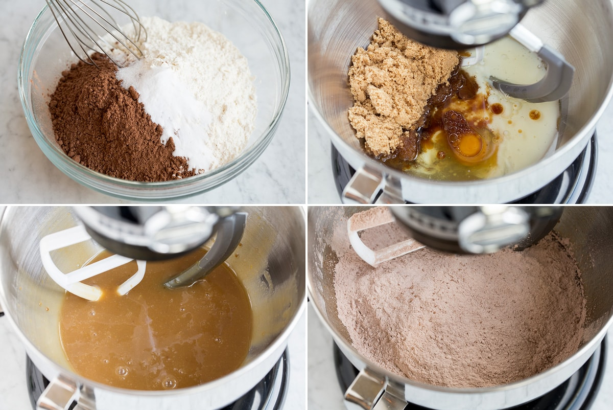 Image of steps 1 - 4 of mixing whoopie pie batter in mixing bowl.
