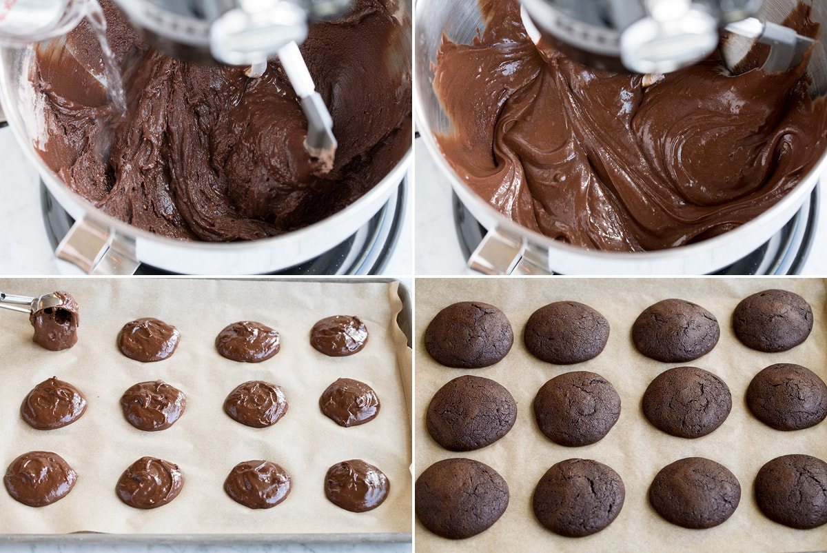 Steps 5 - 8 making whoopie pie batter and adding to cookie sheet.