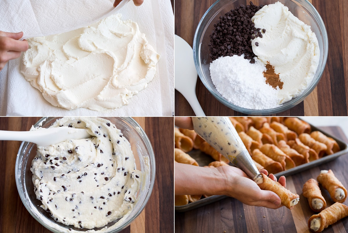 Steps to making cannoli filling in a mixing bowl and piping into cannoli shells.