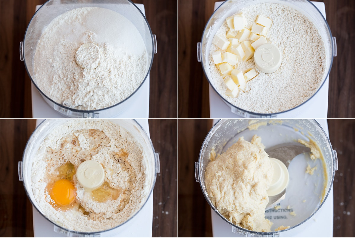 Steps of making cannoli shell dough in a food processor.