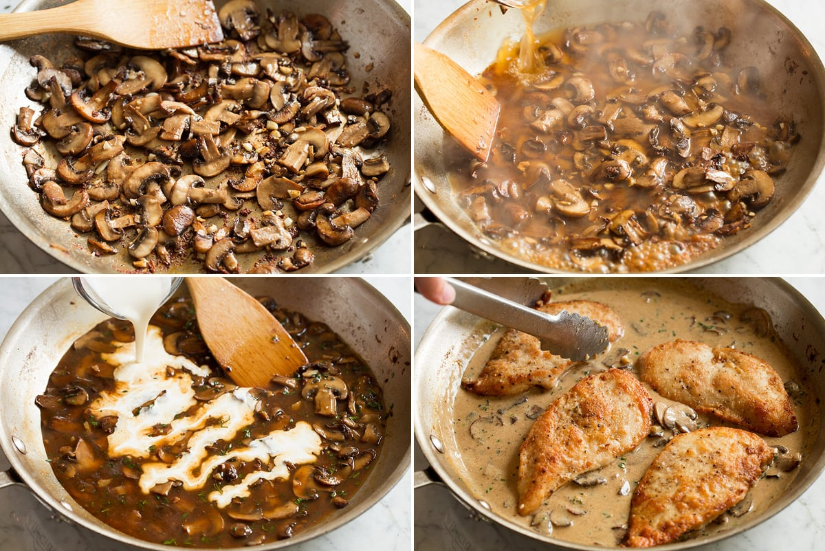 Image showing steps to making chicken marsala wine sauce including sauteing mushrooms in skillet, adding wine, adding cream. Then cooked chicken breasts are added to sauce.