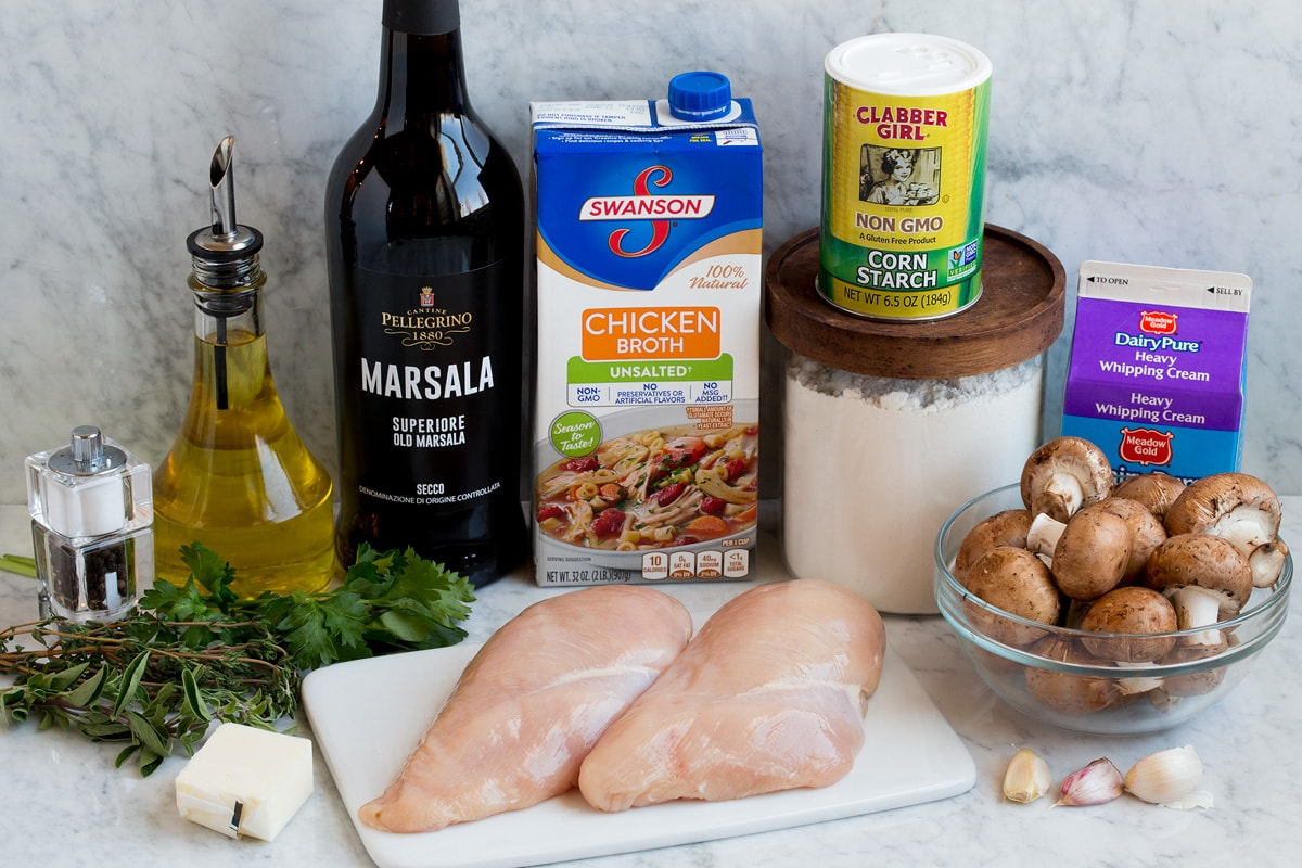 Ingredients shown here that are needed to make chicken marsala.