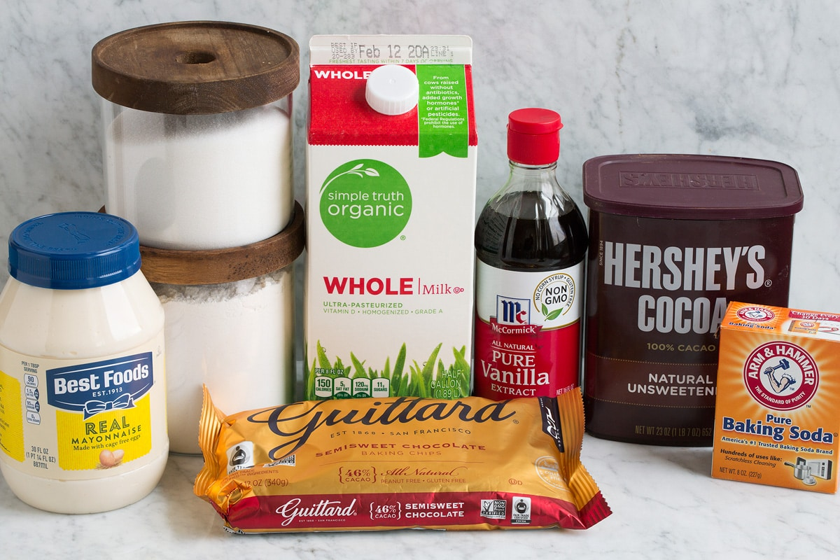 Ingredients shown here that are needed to make chocolate mug cake.