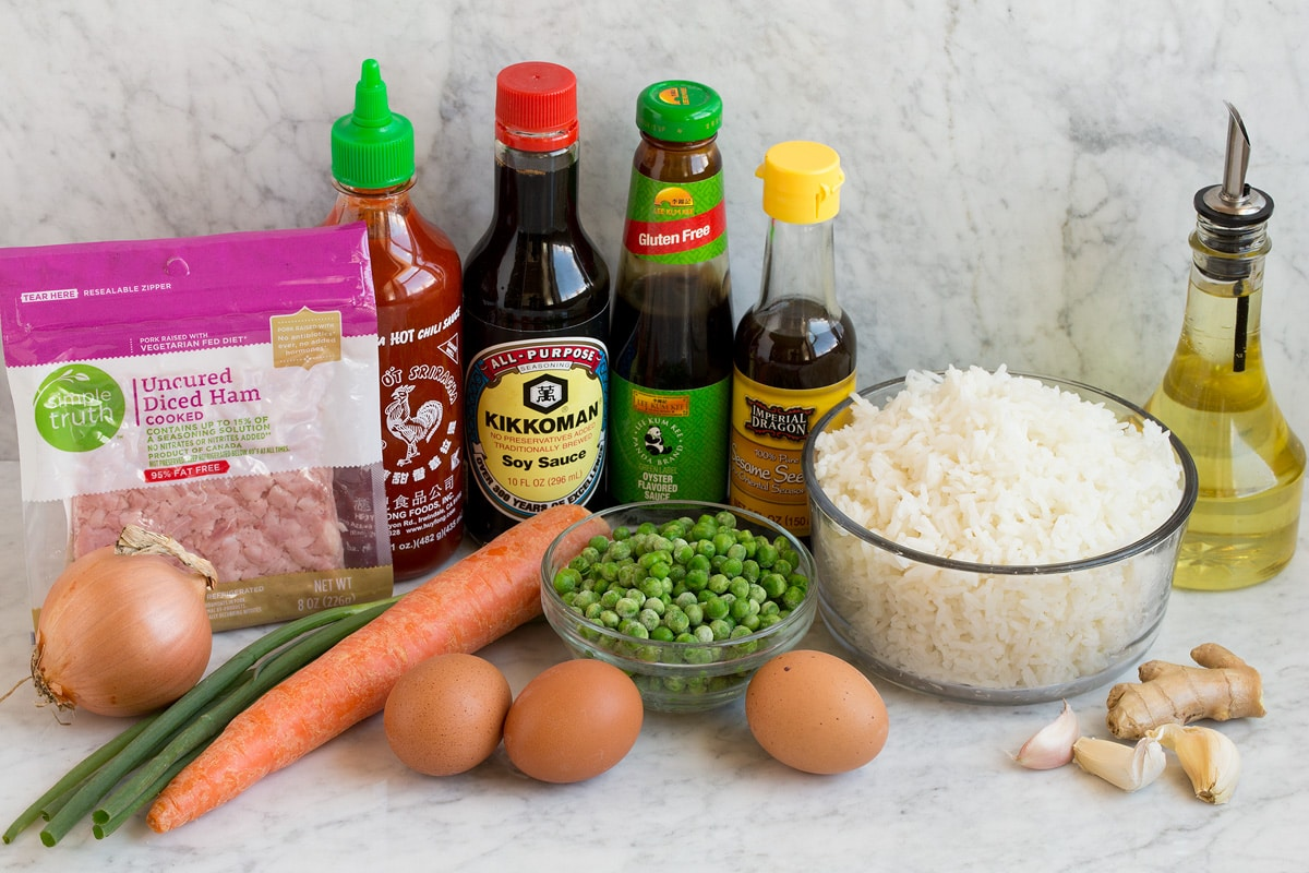 Image of ingredients used in fried rice.