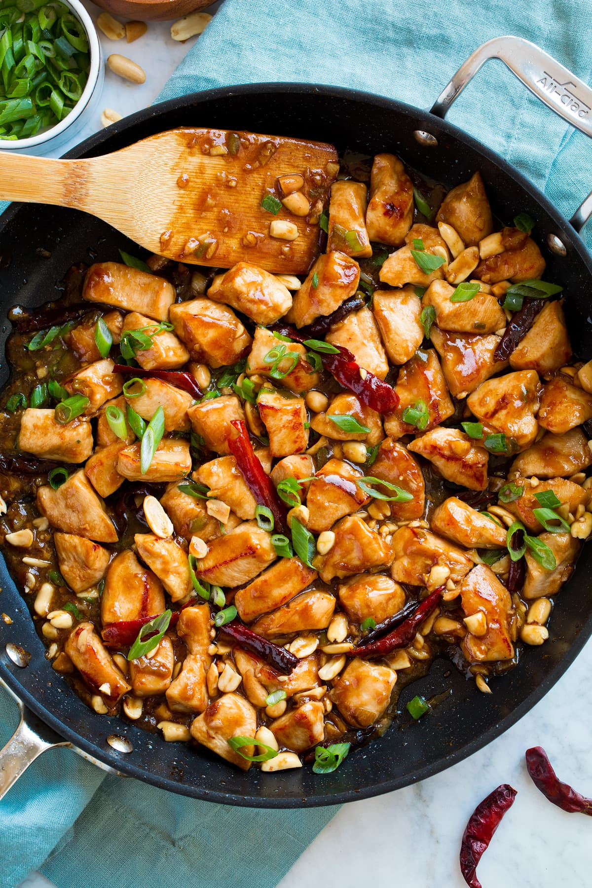 Kung Pao Chicken in a large skillet.