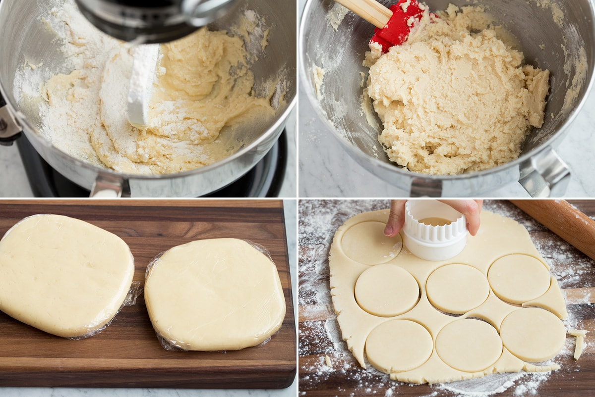 Steps 5 - 8 of making soft frosted sugar cookies