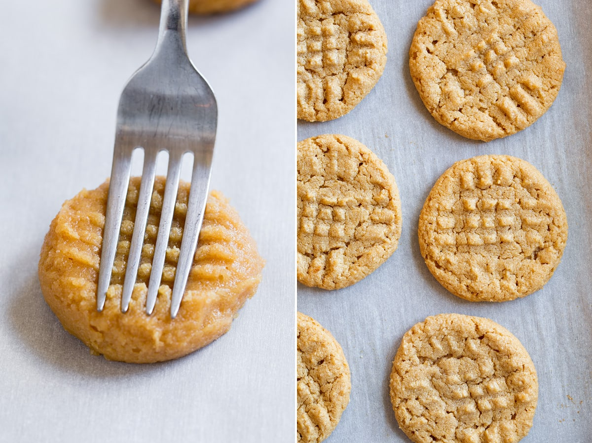 Image showing steps 5 and 6 to making 3 ingredient peanut butter cookies. Showing pressing cookie dough with a fork then finished cookies on bakign sheet.