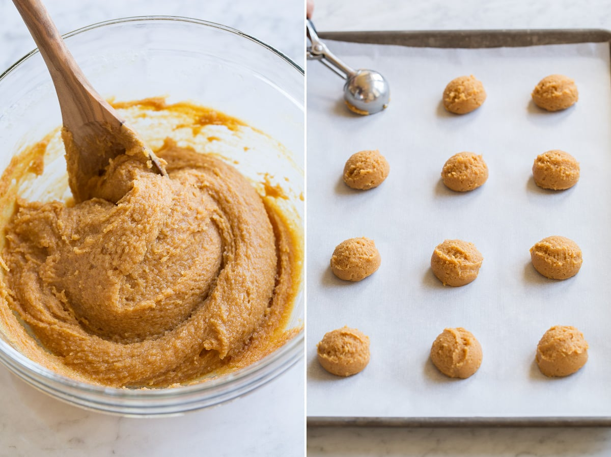 Image showing steps 3 and 4 to make 3 ingredient peanut butter cookies including finished mixed dough in glass bowl and scooping dough into rounds on baking sheet.