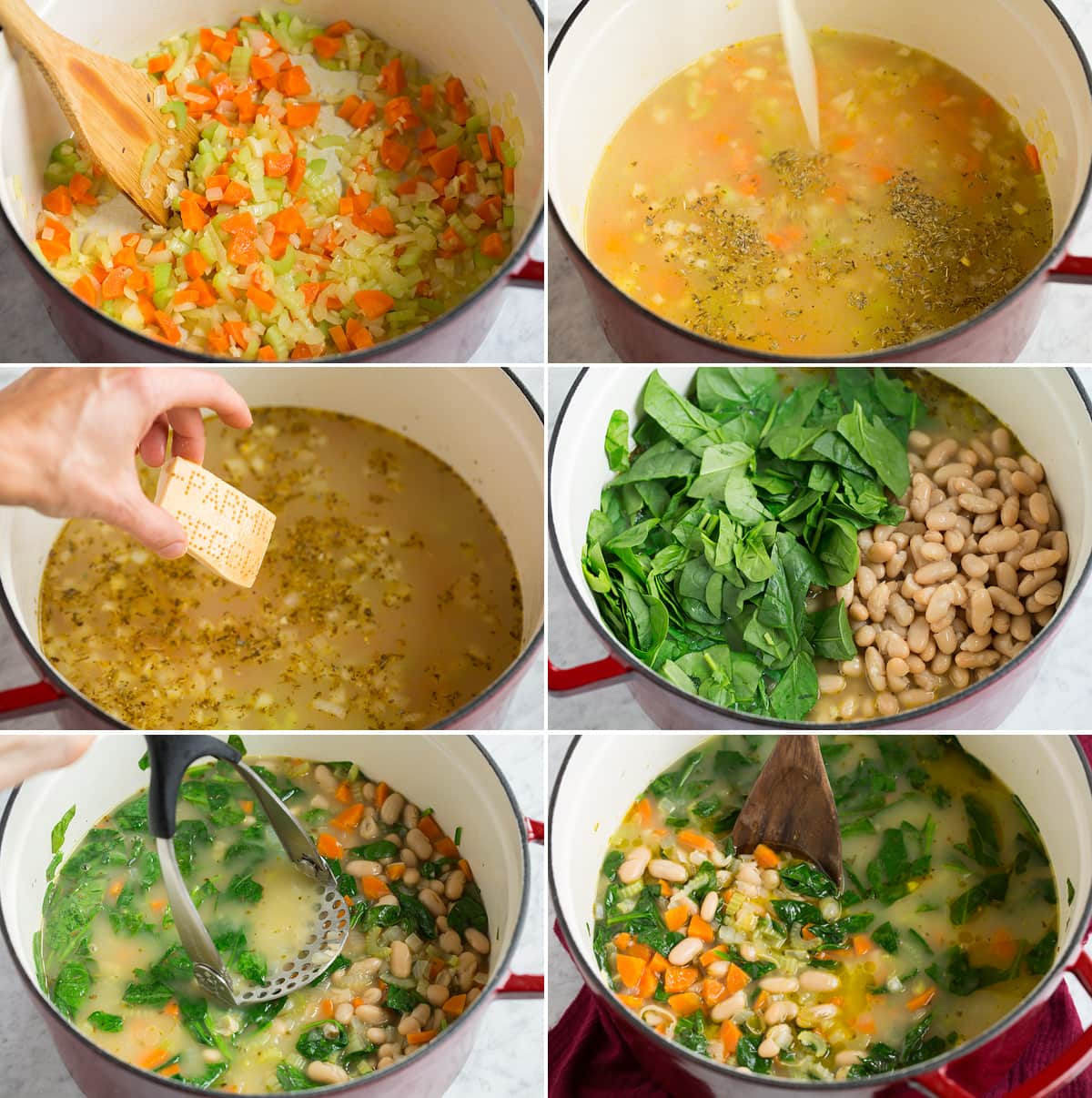 Collage image of steps showing how to make bean soup in a large pot.