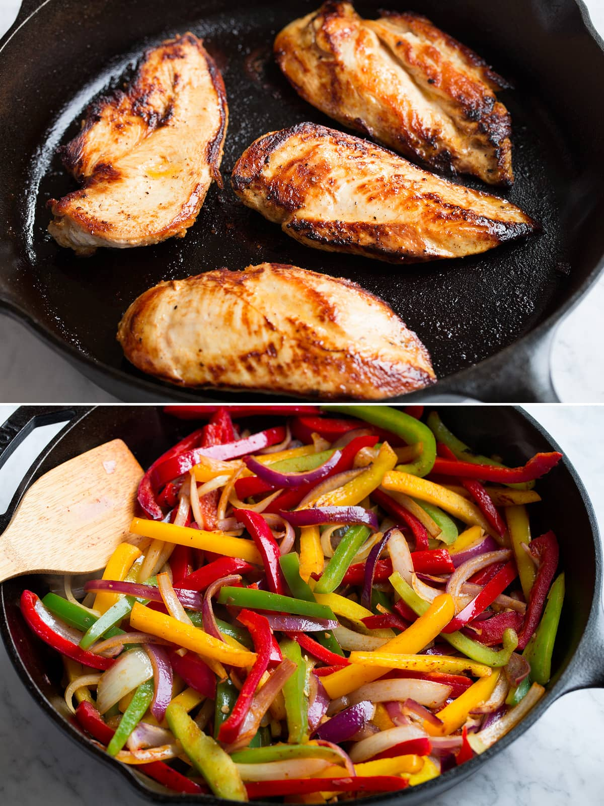 Marinated chicken breasts being cooked in a cast iron skillet, then lower image showing sauteing sliced bell peppers and onions in a cast iron skillet.
