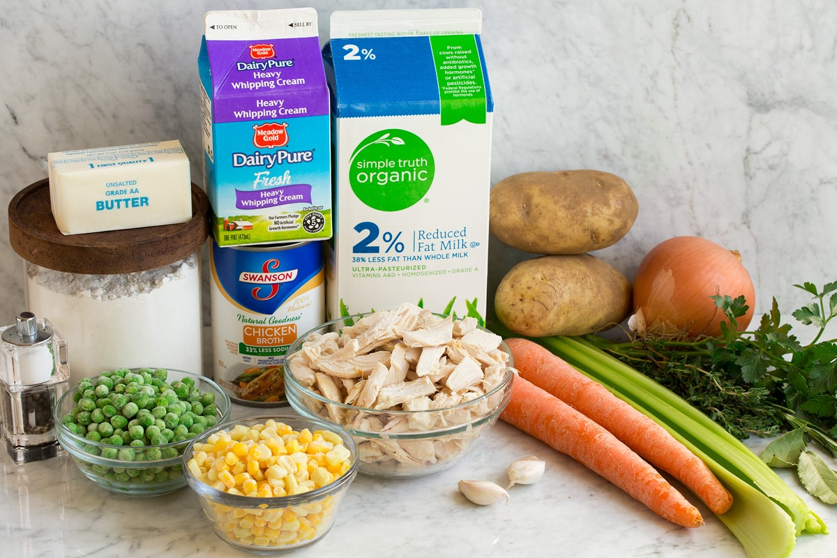 Image showing ingredients needed to make chicken pot pie soup including milk, cream, chicken broth, flour, butter, peas, corn, chicken, carrots, celery, potatoes, onion, garlic and fresh herbs.