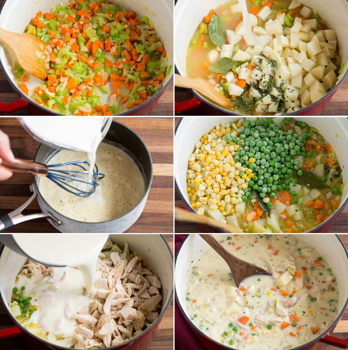 Image showing steps to making chicken pot pie soup in a pot as well as making a white sauce in a saucepan to add to soup.