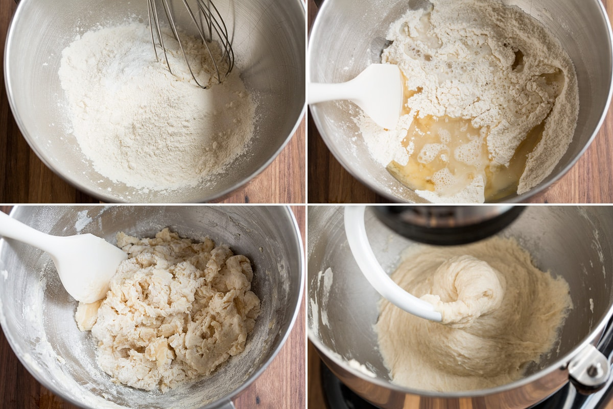 Image showing steps how to make flour tortilla dough in a stand mixer.