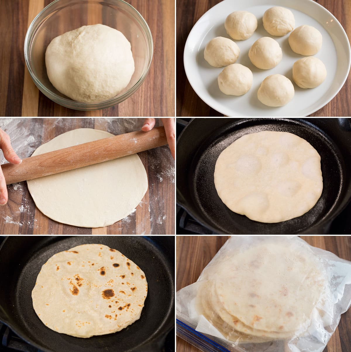 Image showing steps how to shape tortilla dough in different stages, how to cook tortillas and how to steam tortillas after cooking in a resealable bag.