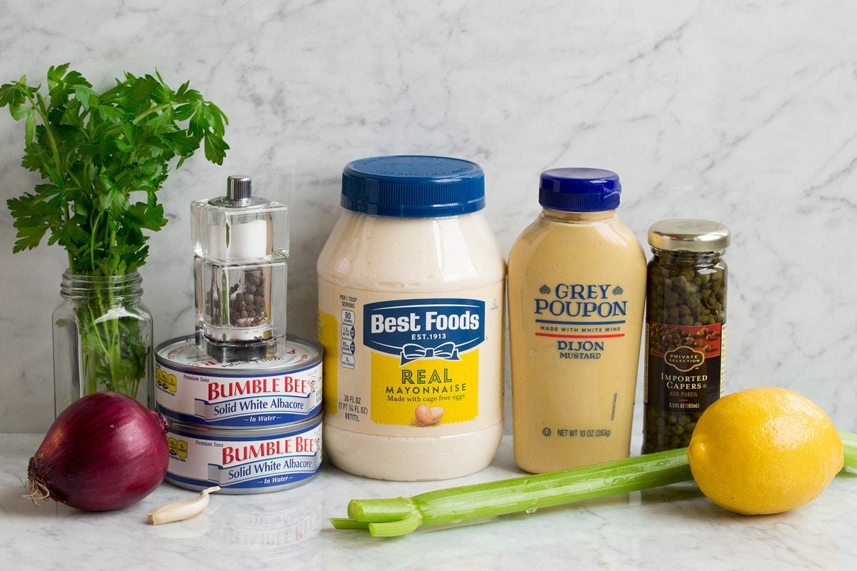Ingredients used to make tuna salad.