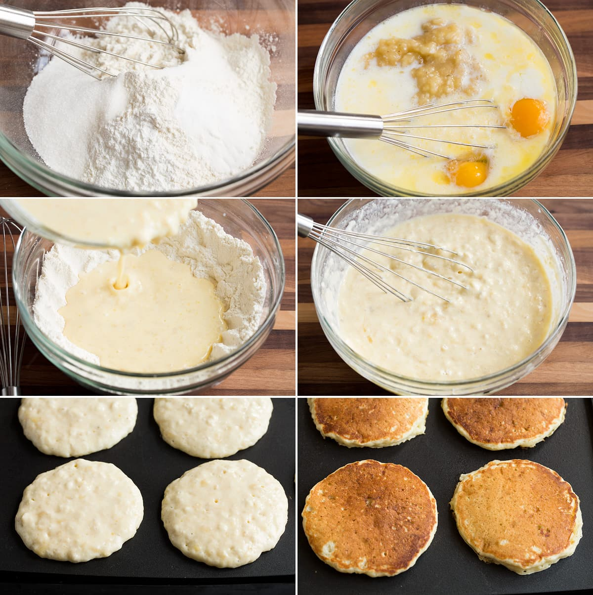 Collage of 6 images showing the steps of preparing banana pancake batter and cooking pancakes on the griddle.