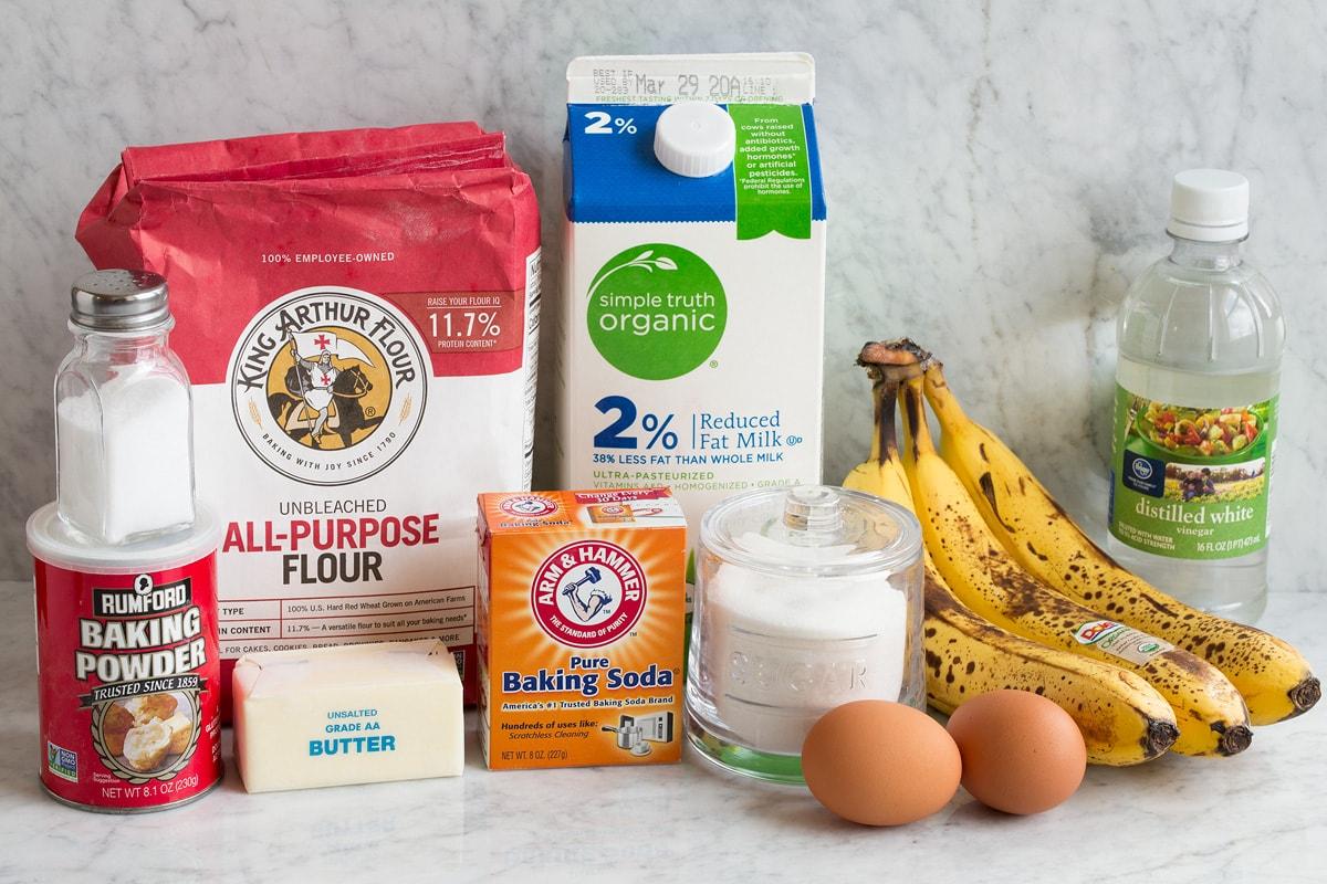 Ingredients used to make banana pancakes.