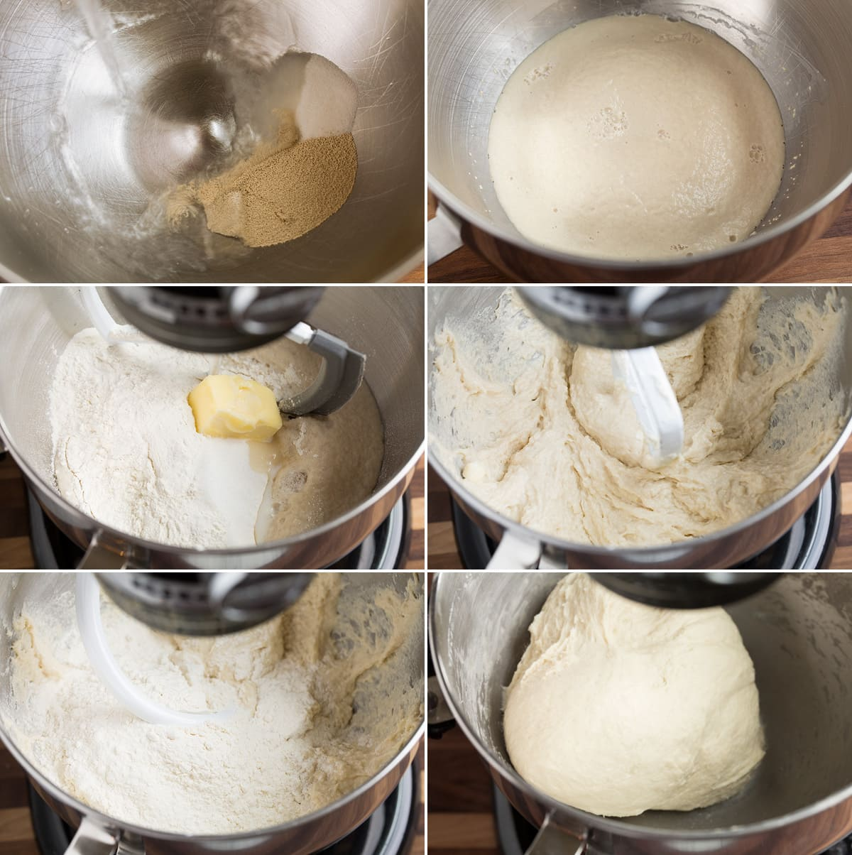 Collage image showing six steps to making bread dough in a stand mixer including proofing yeast with water and sugar, mixing in flour salt and butter, and mixture after it has finished kneading in the mixer.